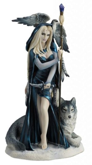 Photo of Arcana the Shaman Lady and Wolf Figurine (Ruth Thompson) 29cm