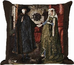 Phot of Arnolfini By Jan Van Eyck Tapestry Cushion