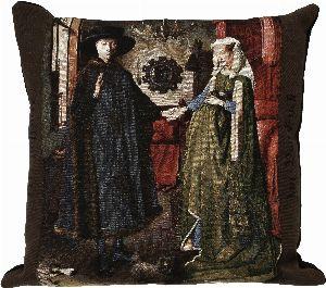 Phot of Arnolfini By Jan Van Eyck Tapestry Cushion