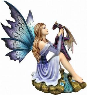 Photo of Blossoming Basilisk Fairy and Dragon Figurine 27cm