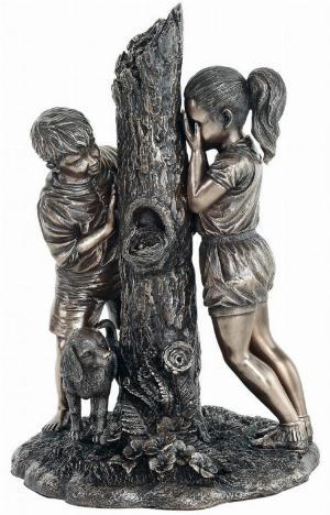 Photo of Hide and Seek Boy and Girl Bronze Figurine 24cm