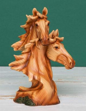 Photo of Horse Heads Wood Effect Resin Figurine Juliana Collection