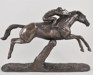 Photo of Istabraq Cold Cast Bronze Horse and Jockey Horse Racing Sculpture by Harriet Glen