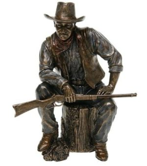 Photo of John Wayne Cowboy Sitting with Rifle Bronze Figurine
