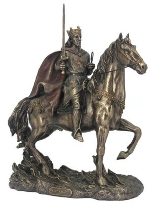 Photo of King Arthur On Horse Bronze Figurine 30cm