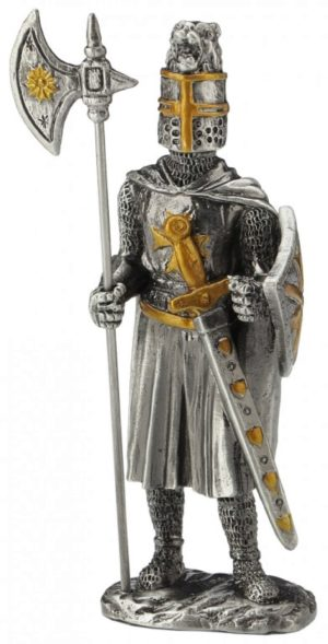 Photo of Knight Crusader with Halberd and Long Sword Pewter Figurine