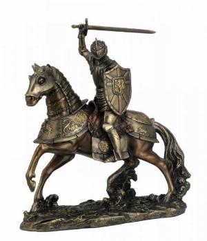 Photo of Knight on Horse with Sword Bronze Figurine