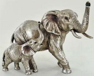 Photo of Mother Elephant and Calf Silver Figurine 13 cm