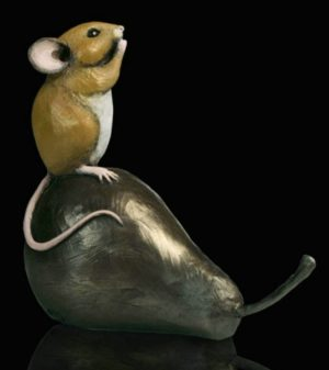 Photo of Mouse on Pear Bronze Figurine Michael Simpson