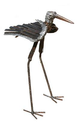 Photo of Stilt Bird Metal Garden Ornament (Upright)