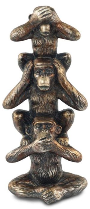 Photo of Three Wise Monkeys Tower Bronze Ornament