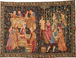 Phot of Wine Press Grape Harvest Wall Tapestry
