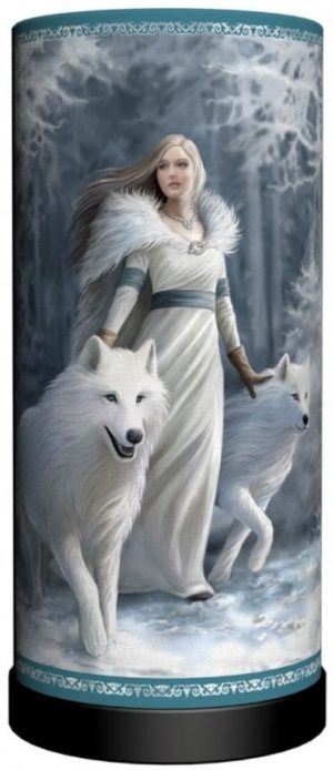Photo of Winter Guardians Wolf Cylindrical Table Lamp (Anne Stokes) 28 cm