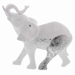 Photo of Abstract White Silver Patchwork Elephant Figurine