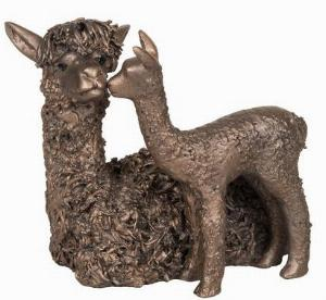Photo of Alpaca and Baby Bronze Sculpture