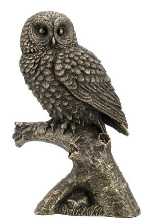 Photo of Bronze Owl on Branch Figurine