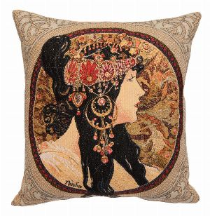 Phot of Brunete Byzantne By Mucha Tapestry Cushion