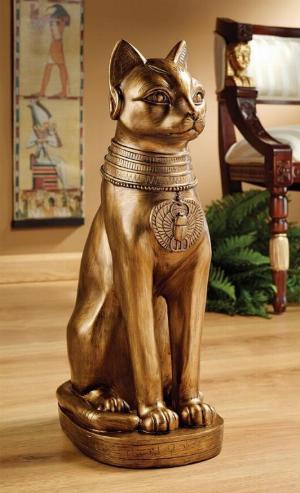 Photo of Golden Egyptian Cat Figurine Large Bastet