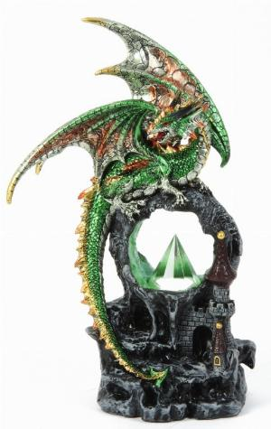 Photo of Green Dragon Tower Portal Figurine Light Feature 28 cm