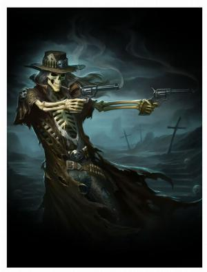 Photo of Gun Slinger Skeleton Cowboy 3D Picture 28.5 x 38.5cm.