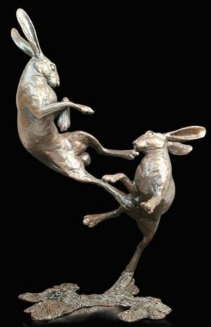Photo of Hares Boxing Medium Bronze Figurine (Limited Edition) Michael Simpson