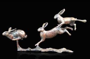 Photo of Hares Running Bronze Figurine (Limited Edition) Michael Simpson