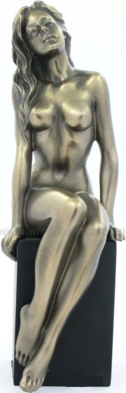 Photo of Nude Girl Sitting on Plinth Bronze Figurine