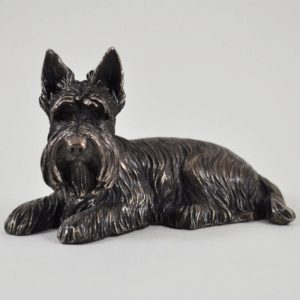 Photo of Scottie Dog Lying Bronze Dog Sculpture