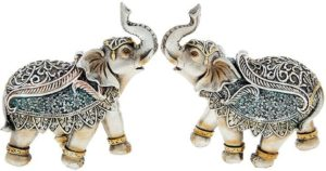 Photo of Steel Blue Elephant Figurine 12 cm (Set of 2)