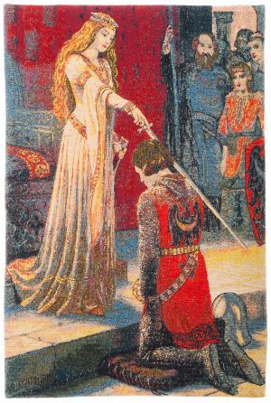 Phot of The Accolade By Edmund Leighton Wall Tapestry