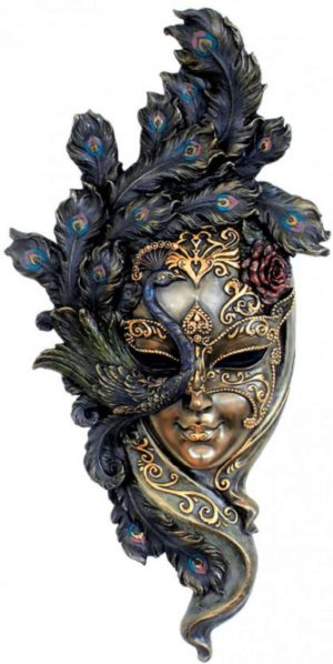 Photo of Venetian Mask Peacock Wall Plaque