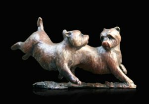 Photo of Westie Pair Running and Playing Bronze Figurine (Limited Edition) Michael Simpson
