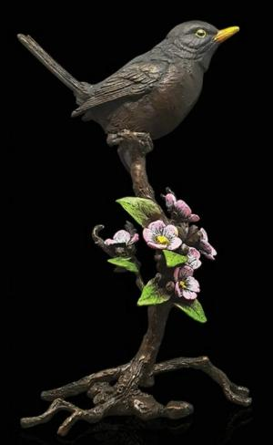 Photo of Blackbird with Blossom Bronze Figurine with Wooden Presentation Box (Limited Edition) Keith Sherwin