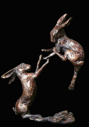 Photo of Boxing Hares Bronze Miniature (Butler and Peach)