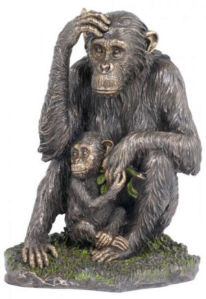 Photo of Chimpanzee and Baby Bronze Statue
