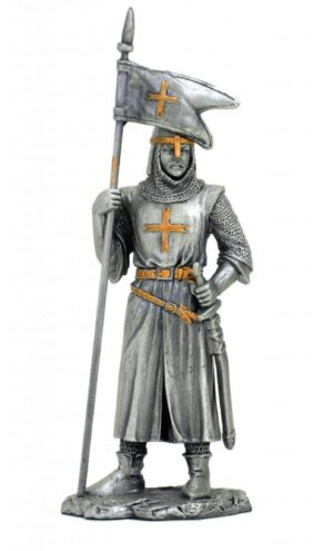 Photo of Crusader with Flag Pewter Figurine