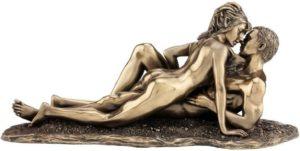 Photo of Entwined Bronze Nude Couple Figurine 28cm