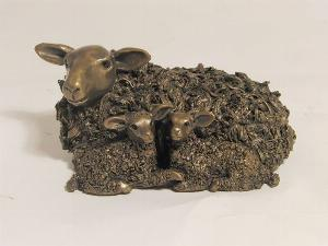 Photo of Ewe with Twin Lambs Bronze Figurine