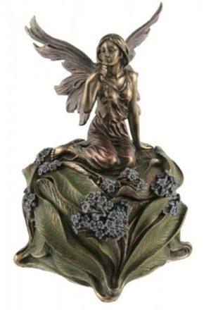 Photo of Fairy Holding Flower Trinket Box Bronze