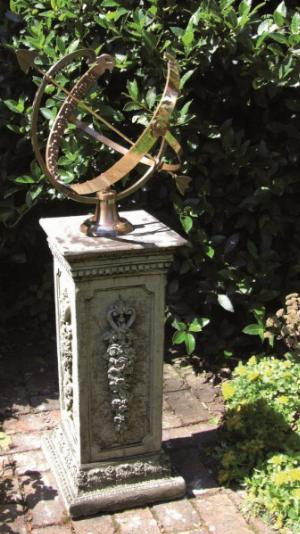 Photo of Floral Stone Plinth with Large Brass Armillary