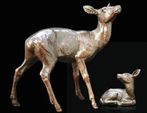 Photo of Hind and Fawn Bronze Sculpture (Limited Edition) Michael Simpson