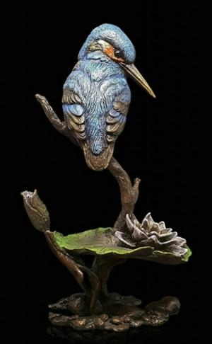 Photo of Kingfisher with Lily Bronze Figurine with Wooden Presentation Box (Limited Edition) Keith Sherwin