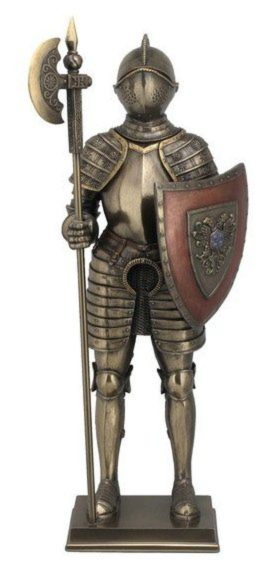 Photo of Knight Guarding with Halberd Bronze Figurine 36 cm