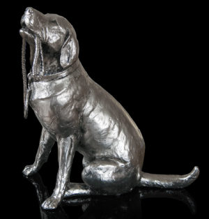 Photo of Labrador with Lead Sitting Nickel Plated Figurine 27 cm Michael Simpson