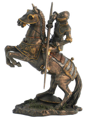 Photo of Medieval Knight with Lance Pointing Downwards Bronze Figurine