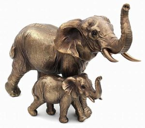 Photo of Mother Elephant and Calf Bronze Figurine Large