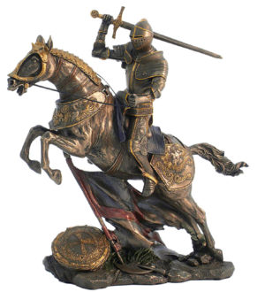 Photo of Mounted Knight Attacking Bronze Figurine