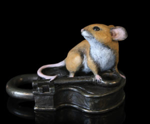 Photo of Mouse on Antique Lock Bronze Figurine Michael Simpson