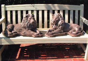 Photo of Pair of Chatsworth Lions Stone Garden Sculptures