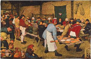 Phot of Peasants Wedding Meal By Pieter Bruegel Wall Tapestry